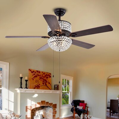 52 5 Blade Laure Crystal 6-Light Ceiling Fan