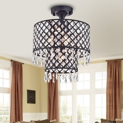 Anika 4-Light Semi Flush Mount Finish: Black