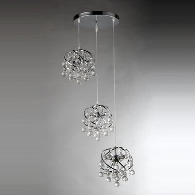 Links Crystal 3-Light Cascade Pendant