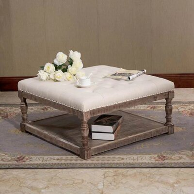 Cairona Shelved Cocktail Ottoman Size: 17.5 H x 34 W x 34 D, Color: Beige