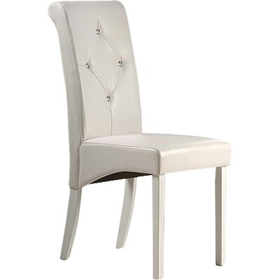Tiffany Genuine Leather Upholstered Dining Chair Finish: White
