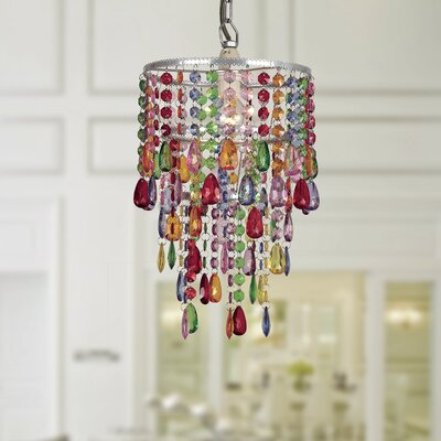 Eglantyne Acrylic/Metal Rainbow 1-Light Crystal Pendant