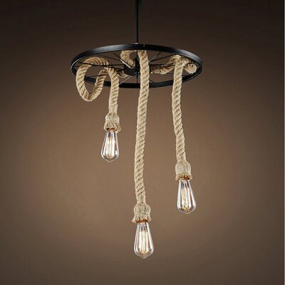 Fischer Hemp Rope Edison 3-Light Pendant