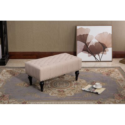 Vanhorne Taupe Tufted Fabric Ottoman