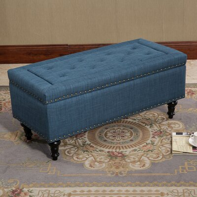 Vanguilder Blue Tufted Rectangular Storage Ottoman