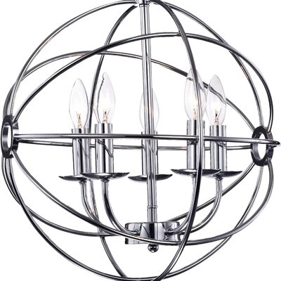 Douglass 5-Light Globe Pendant Finish: Chrome