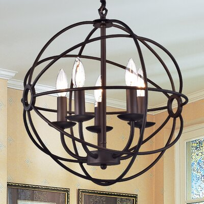 Shindanlang 5-Light Globe Pendant Finish: Bronze