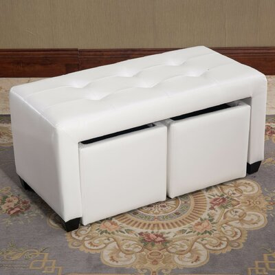Belote Bicast Leather Double Bin Ottoman