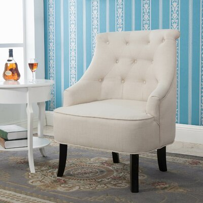 Terrell Curved Back White Accent Side Chair