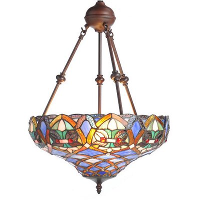 Riffe Tiffany Style Ariel Bowl Pendant Shade Color: Blue/Yellow