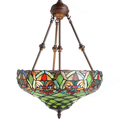 Riffe Tiffany Style Ariel Bowl Pendant Shade Color: Green/Red