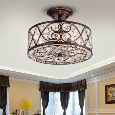 Riehle Crystal 4-Light Semi Flush Mount