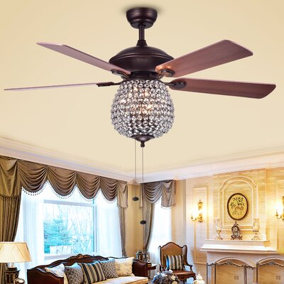 52 Spalding Crystal Basket 5 Blade Ceiling Fan