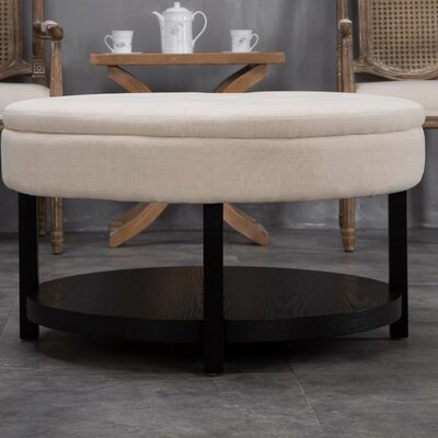 Alsatia Round Tufted Padded Shelved Ottoman