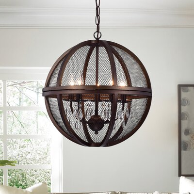 Mandee Crystals Caged 5-Light Globe Pendant