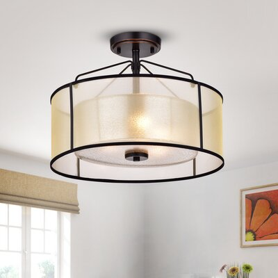 Brisco Oil-Rubbed Bronze 3-Light Semi Flush Mount