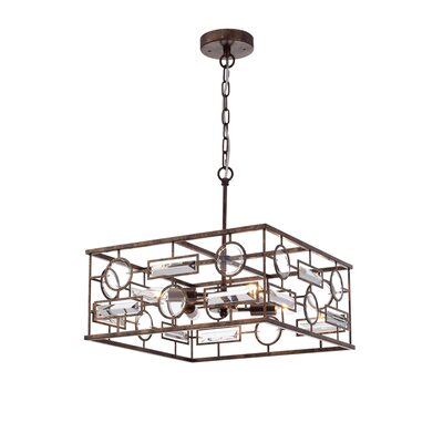 Cheaney 4-Light Geometric Pendant Finish: Rustic Iron