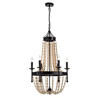 Stokes Vase Wood 6-Light Candle-Style Chandelier