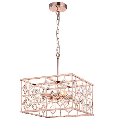 Workman Cage 4-Light Geometric Pendant Finish: Rose Gold