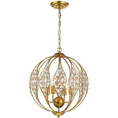 Maritza Leaf 3-Light Globe Pendant Finish: Brushed/Gold