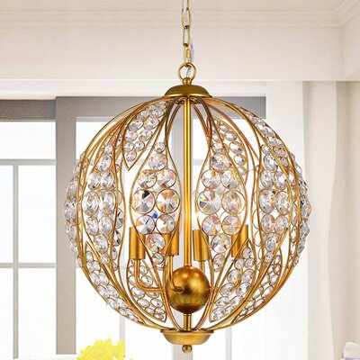 Maritza Leaf 3-Light Globe Pendant Finish: Gold