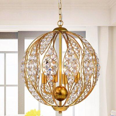 Maritza Leaf 3-Light Globe Pendant Finish: Gold