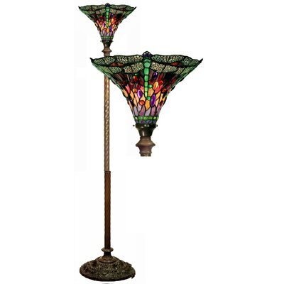 Dragonfly Red / Purple Torchiere Lamp