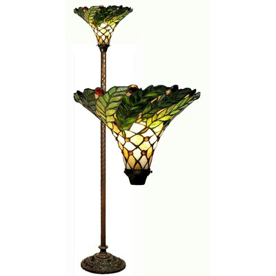 Green Leaf Torchiere Lamp