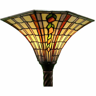 Large Golden Amber Torchiere Lamp