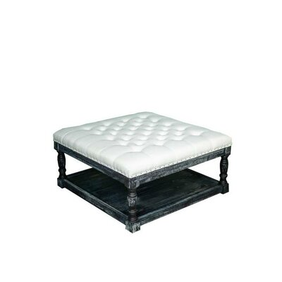 Cairona Shelved Cocktail Ottoman Size: 17.5 H x 34 W x 34 D, Color: White/Black Wash