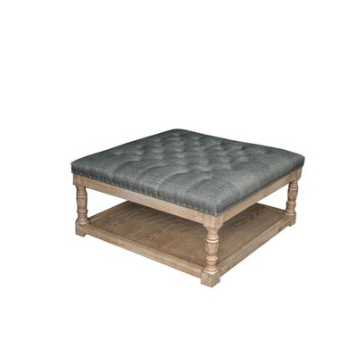 Cairona Shelved Cocktail Ottoman Size: 17.5 H x 34 W x 34 D, Color: Blue/Cafe