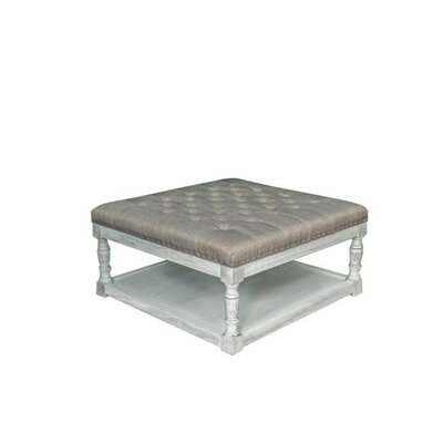 Cairona Shelved Cocktail Ottoman Size: 17.5 H x 34 W x 34 D, Color: Gray/White Wash
