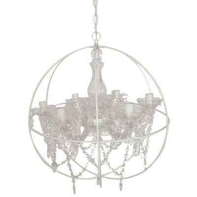 6-Light Globe Pendant Crystal: White