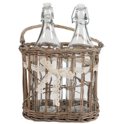 2 Bottles in Basket with Ribbon 35100