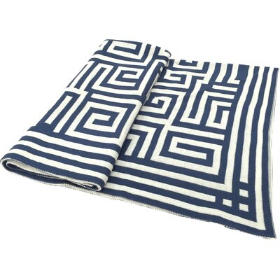 Chevron Jacquard Throw Color: Navy
