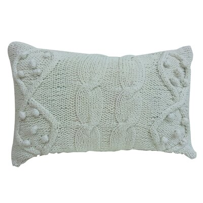 Twisted Cable Knit Cotton Lumbar Pillow Color: Cream