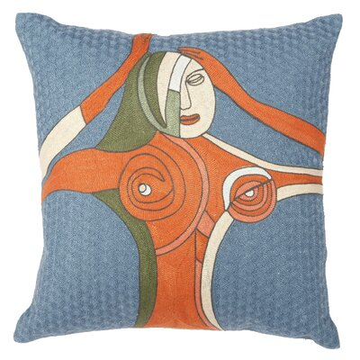 Duane Embroidered Cotton Throw Pillow