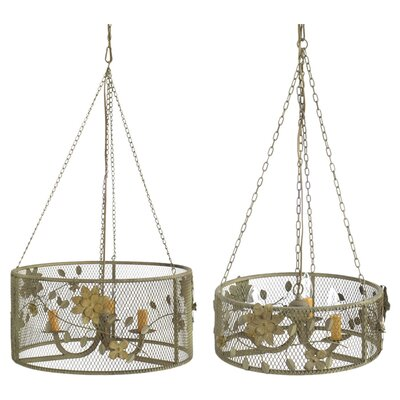 2 Piece Julia 3-Light Drum Chandelier Set