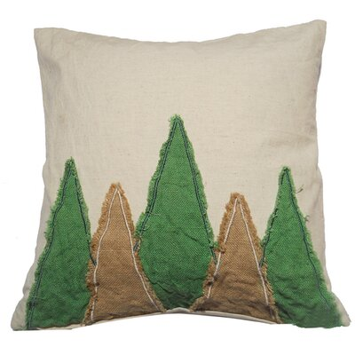 Rustic Tree Embroidered Throw Pillow