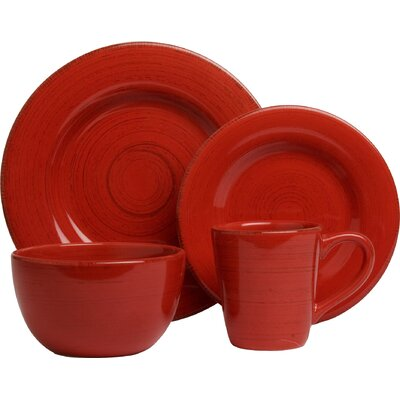 Sonoma 16 Piece Dinnerware Set, Service for 4 Color: Red 025466806812