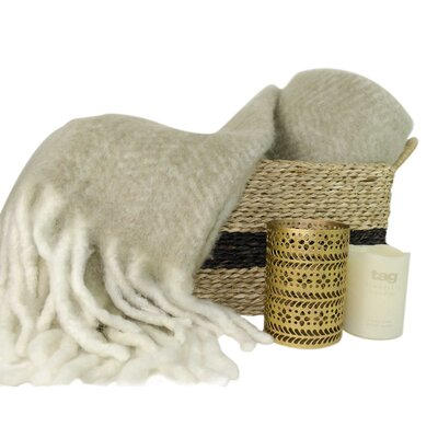 Basket & Candle with Wool Throw
