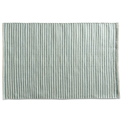 Pencil Stripe Hand-Loomed Green Indoor/Outdoor Area Rug