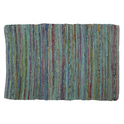 Paanee Stripe Chindi Hand-Woven Teal Area Rug