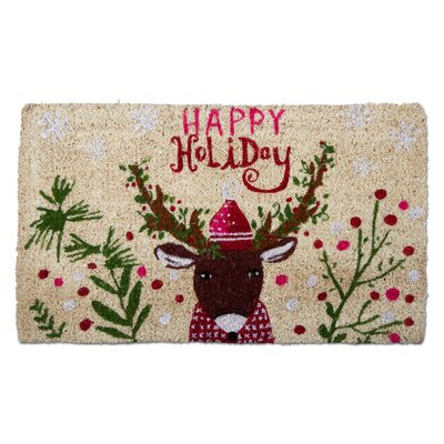Happy Holiday Deer Coir Doormat