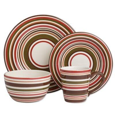 Sonoma 16 Piece Dinnerware Set Color: Chocolate Stripe 025466919208