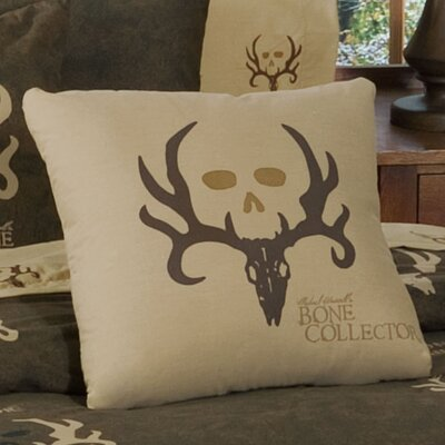 Logo Cotton Blend Throw Pillow Color: Tan