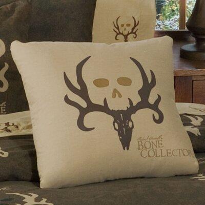 Logo Cotton Blend Throw Pillow Color: Tan