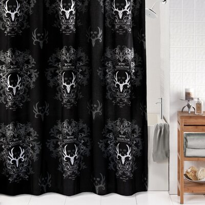 Shower Curtain Color: Black/Grey
