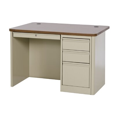 900 Series 29.5 Single Pedestal Desk Finish: Putty / Medium Oak Product Photo 3407