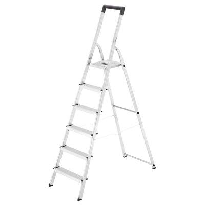 2.075 m Trittleiter L40 aus Aluminium - mit Sicherheitsbügel | Baumarkt > Leitern und Treppen > Trittleiter | Silver | Kunststoff - Aluminium | Hailo